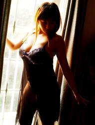 1girl asian ayami_sakurai bangs bare_shoulders blunt_bangs bra breasts cleavage curtains female indoors japanese large_breasts lingerie long_hair nightgown panties photo see-through solo standing thighs underwear window