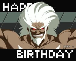 beard dark_skin dated eyebrows facial_hair grin happy_birthday muscle no_pupils official_art pixel_art red_eyes shirtless smile solo thick_eyebrows under_night_in-birth waldstein white_hair