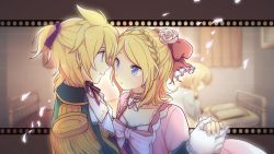 1boy 1girl akiyoshi_(tama-pete) blonde_hair book brother_and_sister eye_contact hair_ornament kagamine_len kagamine_rin looking_at_another reading short_hair siblings twins vocaloid