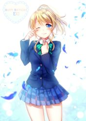 1girl ;) ayase_eli blazer blonde_hair blue_eyes blurry character_name depth_of_field hand_on_own_chest happy_birthday looking_at_viewer love_live!_school_idol_project one_eye_closed plaid plaid_skirt pleated_skirt ponytail riichu school_uniform skirt smile solo tears wind