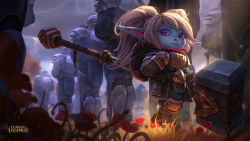 1girl armor blonde_hair blue_skin fang flower fur hammer highres league_of_legends looking_to_the_side official_art pointy_ears poppy purple_eyes shield solo_focus standing twintails walking weapon yordle