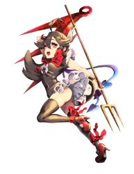 1girl ass asymmetrical_wings black_hair black_legwear cheong_ha dress high_heels houjuu_nue leg_lift open_mouth panties pantyshot pantyshot_(standing) polearm red_eyes short_dress short_sleeves solo standing thighhighs touhou trident underwear upskirt weapon white_background wind wind_lift wings