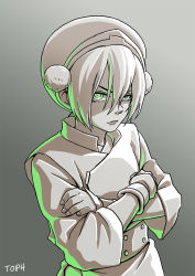 1girl avatar:_the_last_airbender avatar_(series) chinese_clothes crossed_arms gradient gradient_background green_eyes greyscale hair_bun hairband highres monochrome serious shiori_lee_jeng solo spot_color toph_bei_fong upper_body