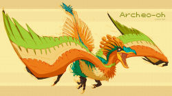 archeops artist_name claws fusion highres ho-oh kezrek no_humans open_mouth orange_eyes pokemon sharp_teeth solo wings