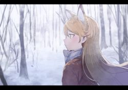 1girl animal_ears bare_tree blazer blonde_hair blush bow bowtie commentary expressionless eyebrows_visible_through_hair eyelashes ezo_red_fox_(kemono_friends) fox_ears from_behind from_side jacket kemono_friends koruse letterboxed light_brown_eyes long_hair long_sleeves looking_afar orange_jacket outdoors profile scenery snow snowing solo tree tsurime upper_body white_bow white_bowtie