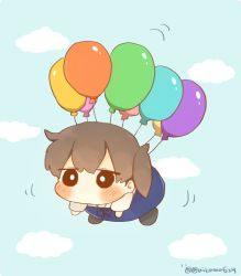 1girl balloon blush brown_hair chibi commentary floating ina_(1813576) japanese_clothes kaga_(kantai_collection) kantai_collection long_hair side_ponytail sky solo twitter_username