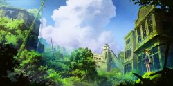 1girl bangs blonde_hair blue_sky blurry broken_glass building cloud cross day depth_of_field glass grass hair_ribbon hat highres long_hair long_sleeves miso_pan moriya_suwako moss outdoors overgrown plant power_lines red_ribbon ribbon ruins scenery skirt skirt_set sky solo standing touhou tree turtleneck utility_pole vest vines wide_sleeves window