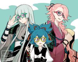 3boys artist_name blue_hair japanese_clothes kousetsu_samonji l_hakase male_focus multiple_boys sayo_samonji souza_samonji sunglasses touken_ranbu twitter_username