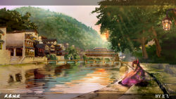 3girls architecture bridge east_asian_architecture forest full_body highres japanese_clothes kimono lamp leg_hug letterboxed light_rays looking_at_viewer looking_to_the_side lucario763 multiple_girls nature original reflection scenery sitting solo_focus sunlight tree wallpaper water