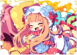 1girl ^_^ animal_costume animal_ears animal_hat bear_costume blush dango_mushi eyes_closed fake_animal_ears hat hug ichihara_nina idolmaster idolmaster_cinderella_girls long_hair open_mouth orange_hair pillow pillow_hug smile solo