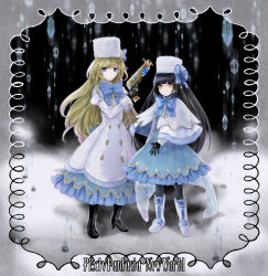 2girls bangs black_boots black_gloves black_hair blank blank_eyes blonde_hair blue_boots blue_bow blue_dress blue_eyes blunt_bangs boots bow capelet copyright_name cross-laced_footwear dress expressionless frame frilled_dress frills full_body fur_hat gem gloves gun hat high_heel_boots high_heels holding holding_weapon ice juliet_sleeves kuroi lace-up_boots long_hair long_sleeves looking_at_viewer multiple_girls original pantyhose pixiv_fantasia pixiv_fantasia_new_world puffy_sleeves snow weapon yellow_eyes