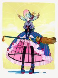1girl aqua_hair bonnet broom corset high_heels hoop_skirt l_hakase original pigeon-toed solo standing