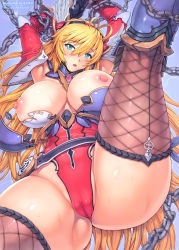 1girl armor bdsm blonde_hair bondage breasts buckle cameltoe chains damaged detached_collar elbow_gloves fishnet_legwear fishnets gloves green_eyes head_wings headband highres large_breasts leg_lift leotard long_hair mogudan nipple_slip nipples open_mouth solo sweat thighhighs thong_leotard