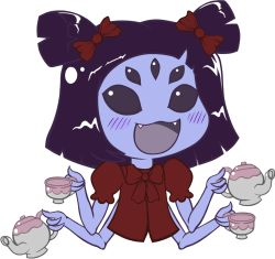 1girl :3 :d chibi cup extra_eyes fangs gyate_gyate hair_ribbon highres insect_girl muffet multiple_arms open_mouth pierre-luc_st-laurent puffy_short_sleeves puffy_sleeves purple_hair purple_skin ribbon short_sleeves short_twintails simple_background smile solo spider_girl tagme teacup teapot twintails undertale upper_body white_background