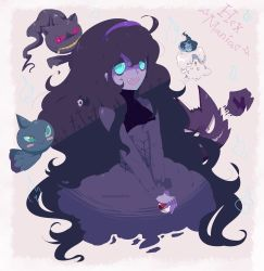 absurdres ahoge al_bhed_eyes aqua_eyes bags_under_eyes banette blue_fire blush_stickers candle claws duskull fangs fire ghost grin haunter hex_maniac_(pokemon) highres horn litwick long_hair messy_hair nail_polish name_tag npc_trainer open_mouth poke_ball pokemon purple_skin shuppet skull_mask smile tuxedocake watermark zipper