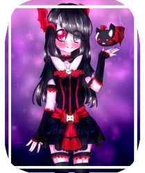 battle black_hair gothic_lolita heterochromia kneehighs lolita_fashion long_hair nocturne_krumenker original red_eyes silver_eyes skirt skull smile suspenders thighhighs white_skin wings