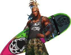 1boy alternate_costume artist_request beard blonde_hair bracelet cedric_(chaos_online) chaos_heroes_online cornrows cowboy_shot cross cross_necklace earrings facial_hair facial_tattoo green_eyes hand_on_hip highres jewelry looking_at_viewer male_focus muscle official_art parted_lips ring simple_background skull solo surfboard tank_top tattoo transparent_background