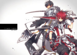 2boys armor black_hair claws coat elsword elsword_(character) gloves hoodie limble male messy_hair multiple_boys over_shoulder pants raven_(elsword) red_eyes red_hair spiked_hair sword weapon yellow_eyes