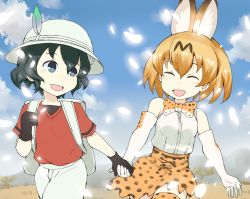 2girls ^_^ animal_ears arms_at_sides backpack bag bare_shoulders black_gloves black_hair blue_eyes blue_sky bow bowtie breasts bucket_hat cloud cloudy_sky cowboy_shot cross-laced_clothes day elbow_gloves eyebrows_visible_through_hair eyelashes eyes_closed facing_another gedou_(ge_ge_gedou) gloves hair_between_eyes hand_holding hat hat_feather kaban kemono_friends looking_at_another looking_back looking_to_the_side medium_breasts mountain multiple_girls open_mouth orange_hair outdoors red_shirt savannah serval_(kemono_friends) serval_ears serval_print shirt short_hair short_sleeves shorts skirt sky sleeveless sleeveless_shirt smile tareme thighhighs tree walking wavy_hair white_hat white_shirt white_shorts wind zettai_ryouiki |d