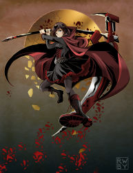 1girl black_hair boots breasts cape crescent_rose gothic_lolita lolita_fashion pantyhose red_cape ruby_rose rwby scythe short_hair silver_eyes smile solo weapon