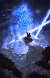 1boy alternate_form aura cloud dual_wielding flying gaara jose_vega naruto naruto_shippuuden night_sky samurai_armor sand star_(sky) sword tree uchiha_madara