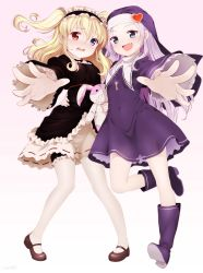 2girls :d absurdres artist_name blonde_hair blue_eyes blush boku_wa_tomodachi_ga_sukunai boots dress eventh7 fang foreshortening gothic_lolita habit hairband hands hasegawa_kobato heart heterochromia highres knee_boots leg_garter lolita_fashion lolita_hairband mary_janes multiple_girls nun open_mouth pantyhose red_eyes ribbon_trim shoes signature silver_hair smile stuffed_animal stuffed_bunny stuffed_toy takayama_maria tears thighhighs two_side_up