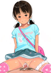 1boy 1girl age_difference black_hair blush bookbag clothed_sex cum cum_in_pussy cumdrip flat_chest hetero loli mokopekko panties_around_leg penis pov sex sketch tagme thighhighs twintails vaginal