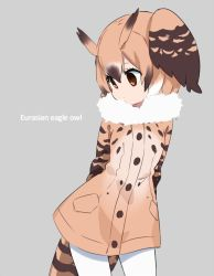 1girl arms_behind_back brown_eyes brown_hair buttons character_name coat collar commentary cowboy_shot english eurasian_eagle_owl_(kemono_friends) expressionless eyelashes fur_collar grey_background hair_between_eyes head_wings ica kemono_friends light_brown_hair long_sleeves looking_to_the_side multicolored_hair pantyhose pocket short_hair simple_background solo tail tareme white_hair white_legwear wings
