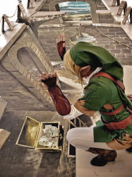 belt blonde_hair boots chalk chobitsg cosplay crouch gauntlets hat link photo pointy_ears solo the_legend_of_zelda