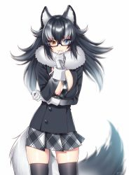 1girl animal_ears black_jacket black_legwear breasts fur_collar glasses gloves grey_wolf_(kemono_friends) hattori_masaki jacket kemono_friends large_breasts long_hair looking_at_viewer miniskirt multicolored_hair necktie open_clothes open_jacket pleated_skirt shiny shiny_skin simple_background skindentation skirt solo standing tail thighhighs two-tone_hair white_background white_gloves wolf_ears wolf_tail zettai_ryouiki