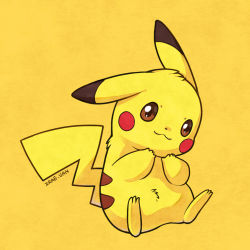 :3 artist_name brown_eyes looking_at_viewer no_humans pikachu pokemon simple_background sitting solo yellow_background zrae