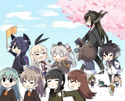 >_< 6+girls :3 ahoge amatsukaze_(kantai_collection) anchor animal animal_on_head backpack bag bespectacled binoculars bird bird_on_head black_hair blonde_hair blush_stickers brown_hair elbow_gloves error_musume eyes_closed flag girl_holding_a_cat_(kantai_collection) glasses gloves green_hair hair_ornament hair_ribbon hair_tubes hairband hairclip hand_holding hands_on_hips hat headgear high_heels hiyoko_(kantai_collection) kantai_collection kitakami_(kantai_collection) kumano_(kantai_collection) kurono_nekomaru majokko_(kantai_collection) midori_(kantai_collection) minigirl multiple_girls nagato_(kantai_collection) nose_bubble on_head ooi_(kantai_collection) ponytail purple_hair randoseru rashinban_musume resized ribbon shimakaze_(kantai_collection) silver_hair sleeping striped striped_legwear suzuya_(kantai_collection) sweatdrop tenryuu_(kantai_collection) thighhighs tokitsukaze_(kantai_collection) triangle_mouth twintails wavy_mouth witch_hat younger yukikaze_(kantai_collection)