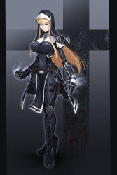 bangs blonde_hair blue_eyes bodysuit boots breasts habit hetza_(hellshock) hime_cut holster impossible_clothes knife large_breasts long_hair nun original thigh_holster