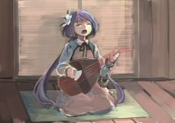 1girl biwa_lute brown_dress chains cuffs dress eyes_closed flower hair_flower hair_ornament ichiba_youichi instrument long_hair long_sleeves low_twintails lute_(instrument) purple_hair shackles shirt singing sitting solo touhou tsukumo_benben twintails very_long_hair