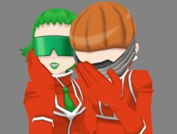 2girls akebi_(pokemon) bara_(pokemon) gloves green_hair green_lipstick lipstick multiple_girls orange_hair pokemon sunglasses team_flare