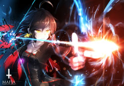 1girl arrow bai_yemeng black_dress black_hair bow_(weapon) dress earrings glowing glowing_weapon jacket jewelry long_sleeves open_clothes open_jacket original pixiv_fantasia pixiv_fantasia_t solo weapon yellow_eyes