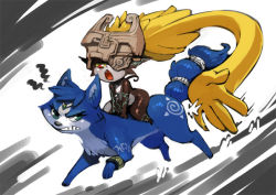 1girl animalization annoyed bittenhard bittenhardly crossover eyelashes fang fox gradient_background green_eyes helmet krystal midna open_mouth red_eyes riding star_fox tail the_legend_of_zelda the_legend_of_zelda:_twilight_princess