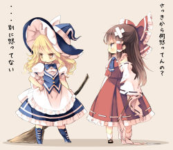 2girls apron ascot bandaid blonde_hair bow broom brown_hair commentary_request detached_sleeves gohei hair_bow hair_tubes hakurei_reimu hat hat_bow kirisame_marisa long_sleeves multiple_girls piyokichi puffy_short_sleeves puffy_sleeves shirt short_sleeves skirt torn_clothes torn_sleeves touhou translation_request vest waist_apron wide_sleeves witch_hat