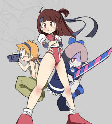 3girls aida_kensuke akko_kagari artist_request cosplay creator_connection gainax gunbuster gunbuster_pose headband leotard little_witch_academia lotte_yanson multiple_girls neon_genesis_evangelion stocking_(psg) stocking_(psg)_(cosplay) sucy_manbabalan sword trigger_(company)