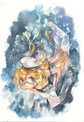 1044kiro 1girl :o absurdres armlet blonde_hair blue_eyes book bubble color_ink_(medium) colored_pencil_(medium) glasses hair_ribbon hat highres i-8_(kantai_collection) kantai_collection long_hair looking_at_viewer low_twintails name_tag ribbon sailor_hat school_swimsuit semi-rimless_glasses solo swimsuit thighhighs traditional_media twintails underwater watercolor_(medium) white_legwear