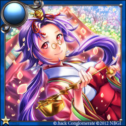 .hack// 1girl 2012 balansia_(guilty_dragon) dutch_angle glasses guilty_dragon japanese_clothes kazura_enji long_hair petals pince-nez purple_hair red_eyes smile solo twintails
