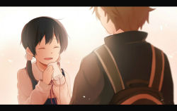 1boy 1girl black_hair brown_hair kitashirakawa_tamako lilya long_hair low_twintails ooji_mochizou phone school_uniform short_hair spoilers string_phone tamako_love_story tamako_market twintails