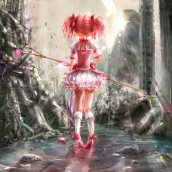 1girl absurdres bow bow_(weapon) bubble_skirt choker gloves hair_ribbon highres kaname_madoka kentarosu7 kneehighs long_hair magical_girl mahou_shoujo_madoka_magica pink_hair ribbon skirt solo twintails weapon white_gloves white_legwear