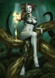 1girl alexia_ashford breasts female fire monster_girl resident_evil resident_evil_code_veronica sitting solo yellow_eyes