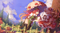 2girls :d black_legwear blonde_hair blue_sky blurry bow braid cloud cloudy_sky depth_of_field dutch_angle flandre_scarlet frills green_eyes hair_bow hair_ribbon holding hong_meiling long_hair mob_cap multiple_girls open_mouth parasol petals red_hair ribbon shade side_ponytail sky smile thighhighs touhou tree twin_braids umbrella very_long_hair wind wings yetworldview_kaze