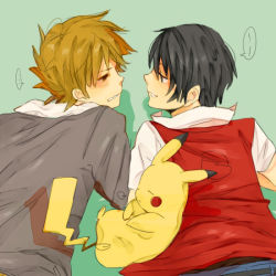 2boys bad_id black_eyes black_hair blush brown_eyes brown_hair get multiple_boys no_hat no_headwear one_(brs) oneone ookido_green ookido_green_(hgss) ookido_green_(remake) pikachu pokemon pokemon_(game) pokemon_hgss pokemon_rgby red_(pokemon) red_(pokemon)_(classic) sleeping yaoi
