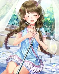 1girl :d absurdres bed braid brown_hair dress dutch_angle eyes_closed frilled_skirt frills front_braid hair_ornament hairclip hariba_kurabayashi highres holding hospital_bed indoors intravenous_drip kishida_mel lens_flare on_bed open_mouth pill round_teeth school_fanfare skirt smile teeth twin_braids window