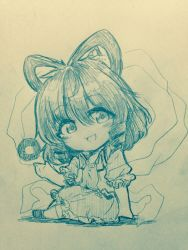 1girl :d bangs chibi coin commentary_request efukei eyebrows_visible_through_hair flower full_body hair_between_eyes hair_ornament hair_rings hairpin highres kaku_seiga looking_at_viewer monochrome open_mouth shawl shoes short_sleeves sitting sleeveless smile solo touhou traditional_media