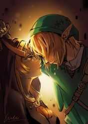1boy 1girl blonde_hair blush breasts buckle circlet couple crying earrings forehead-to-forehead hair_over_eyes hat highres hood jewelry large_breasts link long_hair midna orange_hair pointy_ears red_eyes ruru_(lulubuu) shaded_face short_hair signature tears the_legend_of_zelda tunic twilight_princess