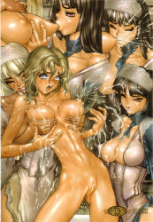 3girls abs black_hair blonde_hair blue_eyes breast_grab breast_sucking breasts eyes_closed grabbing highres hime_cut juliona_trans lactation lips long_hair maid_headdress multiple_girls navel nipples nude open_mouth red_eyes shiny shiny_skin shirou_masamune skinny waitress wild_wet_west yuri
